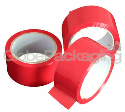 2 Rolls Of RED COLOURED Packing Parcel Tape 50mmx66m 2""
