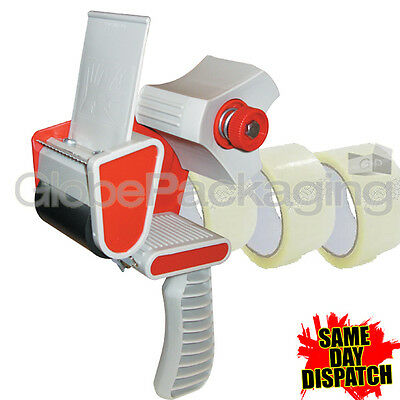 1 PACKING TAPE GUN DISPENSER 50mm & 3 ROLLS CLEAR TAPE