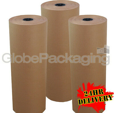 500mm x 225M x 3 BROWN KRAFT WRAPPING PAPER ROLLS 88gsm
