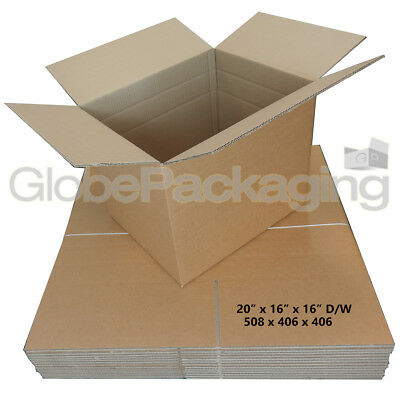 10 x LARGE DOUBLE WALL MOVING SHIPPING BOXES 20x16x16""