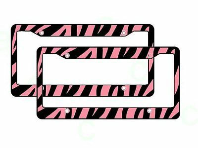 New Set of 2 Zebra Pink Animal Print Car Truck License Plate Frame Made in USA