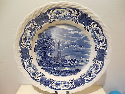 Grindley Scenes After Constable SALISBURY  Cathedral Dinner Plate BLUE ENGLAND