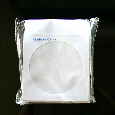 """2000 Wholesale CD DVD R Disc Paper Sleeve Envelope with 4"""" Window & Flap"""