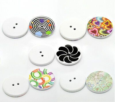 100PCs Mixed 2 Holes Wood Painting Sewing Buttons Scrapbooking 40mm Dia.B21074