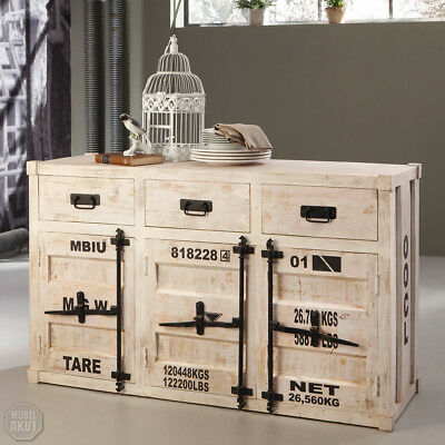 kommode 6921 container von wolf m bel in massivholz akazie antik weiss used look eur 229 95. Black Bedroom Furniture Sets. Home Design Ideas