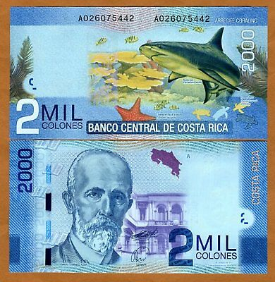 Costa Rica, 2000 ( 2,000 ) Colones, 2009 (2011), P-275, UNC   Shark