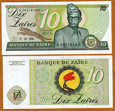 Lot Set Of 5 Banknotes Notes 10 Zaires 1985 Zaire unc P 27a P27a