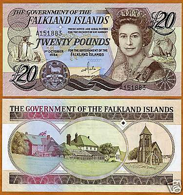 Falkland Islands, 20 pounds, 1984, QEII, P-15, UNC