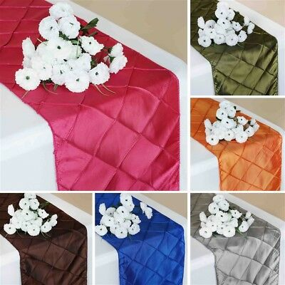"50 Wholesale PINTUCK TAFFETA 12x108"" Table RUNNERS Wedding Party Supplies SALE"
