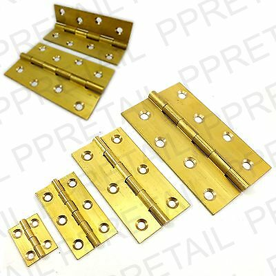 "2x SOLID BRASS BUTT HINGES 25,50,75,100mm Cupboard Cabinet Door 1"" 2"" 3"" 4"""