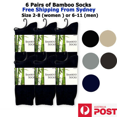 6pairs of Bamboo Socks for Men size 6-11, Ladies size 2-8