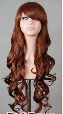 charming long 80cm curly BROWN  party full hair cosplay women's wig +cap AE156