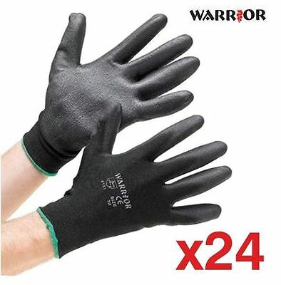 24 X Pairs Of Black Nylon Pu Grip Safety Work Gloves Builders Gardening Mechanic