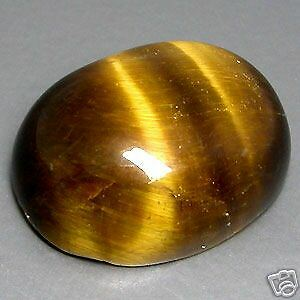 LARGE 16x12mm OVAL CABOCHON-CUT NATURAL AFRICAN GOLDEN TIGERS-EYE GEMSTONE