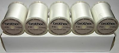 Brother Embroidery Machine Bobbin Thread 1100m - WHITE x 5 Reels A872