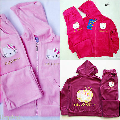 Girls Hello Kitty Pink Purple Velour Tracksuit Hoodie Top Bottom Set 3-7 Years