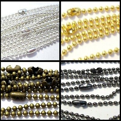 10 Necklaces - 2.4mm ball Chain Necklaces - 24 inch length - Various Colour