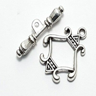 10 Sets of Tibetan Silver patterned Rhombus Alloy Toggle Clasps - A6379