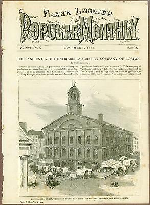 Faneuil Hall, Boston, 19th Century Engraving, Frank Leslie's Monthly, 1883