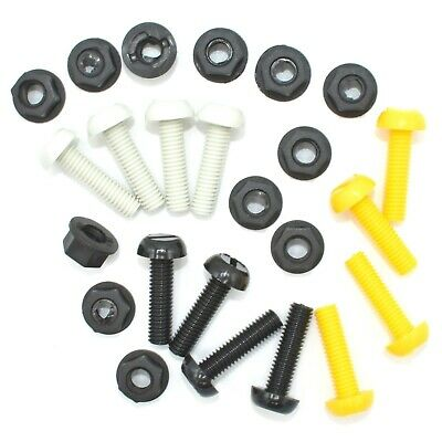 24 Pack Number Plate Bolts Nuts Caps Screws Fitting Fix Yellow Black White