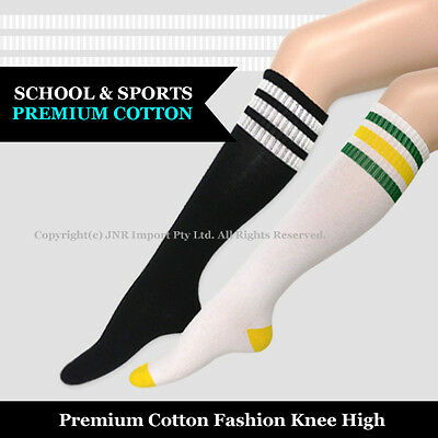 KNEE HIGH SOCKS Girls Ladies Cheerleader Womens Stripe Premium Cotton Size 2-8