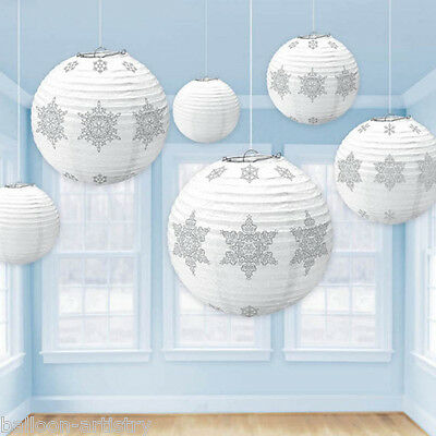 6 Christmas Party Winter White Snowflake Hanging Globe Lanterns Decorations