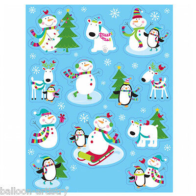 12 Christmas Cheer Happy Snowman Party Window Stickers Clings Decorations