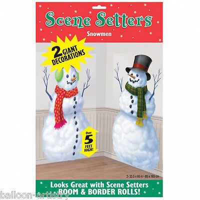 Happy Christmas Winter Wonder Scene Setter Add-on Prop - Merry Snowmen