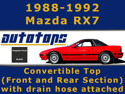 Mazda RX7 RX-7 RX 7 Convertible Top Front and Rear Section with Drain Hose