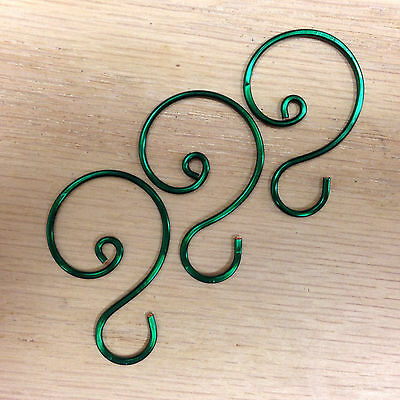 "Green Ornament Hooks, 1 1/8"" to 1 1/4""  length"