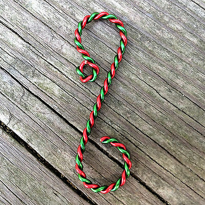 "Twisted Red & Green Ornament Hooks, 2"" length"