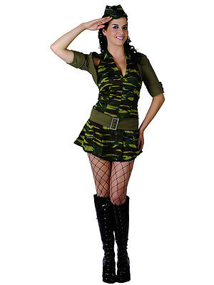Adult Sexy Private Tease War Army Fancy Dress Costume Ladies (UK Sizes 6-24) BN