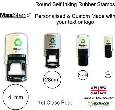 Round Self Inking Rubber Stamps - Eco Friendly - Custom, Personalised, Bespoke