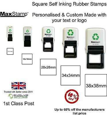Personalised Rubber Stamp Square Shape - 5 sizes to choose from Self Inking