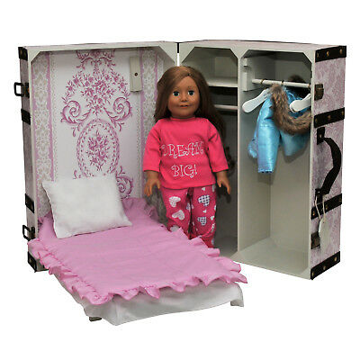 Clothes Storage Trunk, Bed, 3pc Bedding, 4 Hanger For 18 Inch American Girl Doll