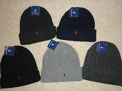 Ralph Lauren Wool Beanie Ski Hat Men's NEW Pony Polo Skull CHOOSE COLOR Winter