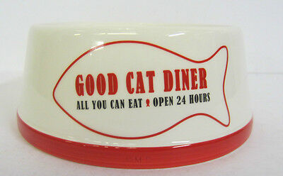 81-3157-  Off White&Red 'Good Cat Diner' Bowl. Only £4.99! • EUR 5,47
