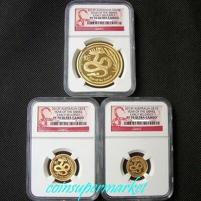 2013P Australia Lunar Year Snake 3 Gold Proof Coins Set NGC PF 70 Early Releases