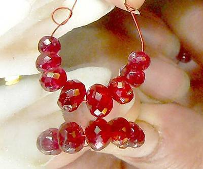 8 RARE GEM GRADE NATURAL FACETED RUBY RED SPINEL BEADS STRAND 10.35ctw 4.5-6.5mm