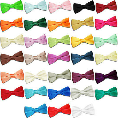 DQT Premium Satin Plain Solid Kids Boy's Pre-tied Bow Tie - Various Colours