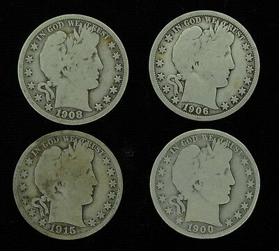 Lot of 4 Mixed Lot 50 Cent Barber Half Dollar 1900 O 1906 D 1908 D 1915 S Coins