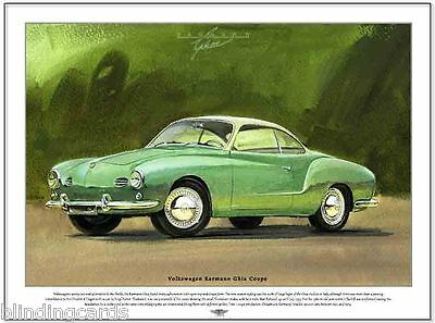 VOLKSWAGEN KARMANN GHIA COUPE - Fine Art Print - A3 size image - Sporty 2-seater