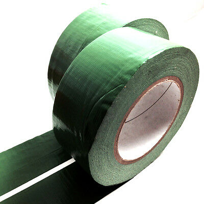 2, 50 METERS x 50mm GREEN GAFFER TAPE, CLOTH DUCK DUCT TAPES, GAFFA
