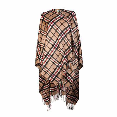 EDINBURGH CASHMERE 100% Luxury Cashmere Ladies Cape Tartan Thomson Camel