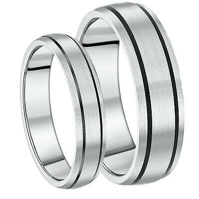 Brand New His & Hers 5&7mm Titanium Black Enamelled Wedding Rings