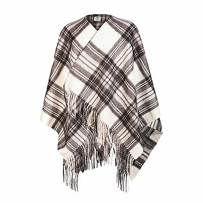 EDINBURGH CASHMERE 100% Cashmere Girls & Ladies Cape Tartan Stewart Grey Dress
