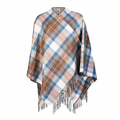 EDINBURGH CASHMERE 100% Cashmere Girls & Ladies Cape Tartan Stewart Muted Blue
