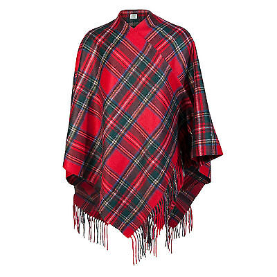 EDINBURGH CASHMERE 100% Cashmere Girls & Ladies Cape Tartan Stewart Royal