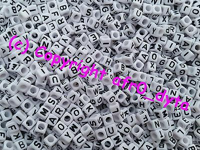 🎀 3 FOR 2 🎀 100 White Alphabet Mixed Letter Cube Pony Beads 6mm