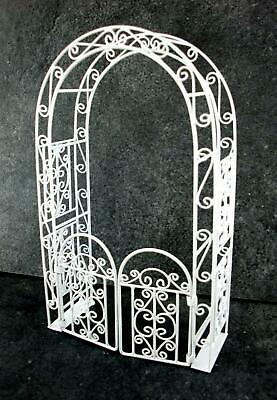 Melody Jane Dolls House Garden White Wrought Iron Arbour Arch with Gates